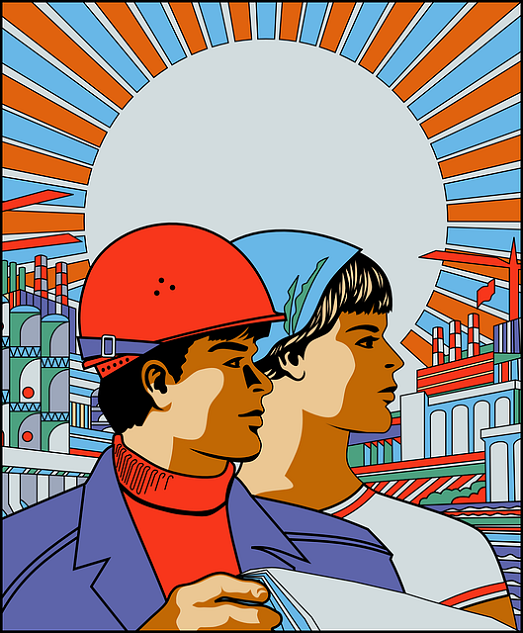Soviet workers on the poster