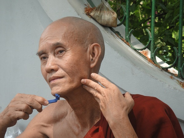 A Shaving Monk from Myanmar